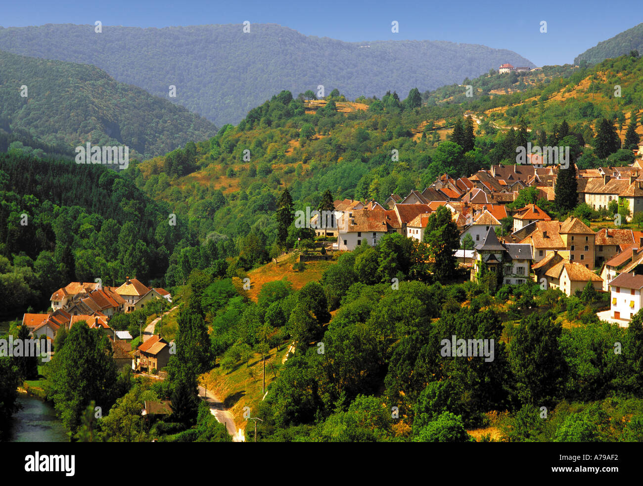 france francehe compte doubs valley of the river loue mouthiers haute pierre france europe french european eu union - Stock Image