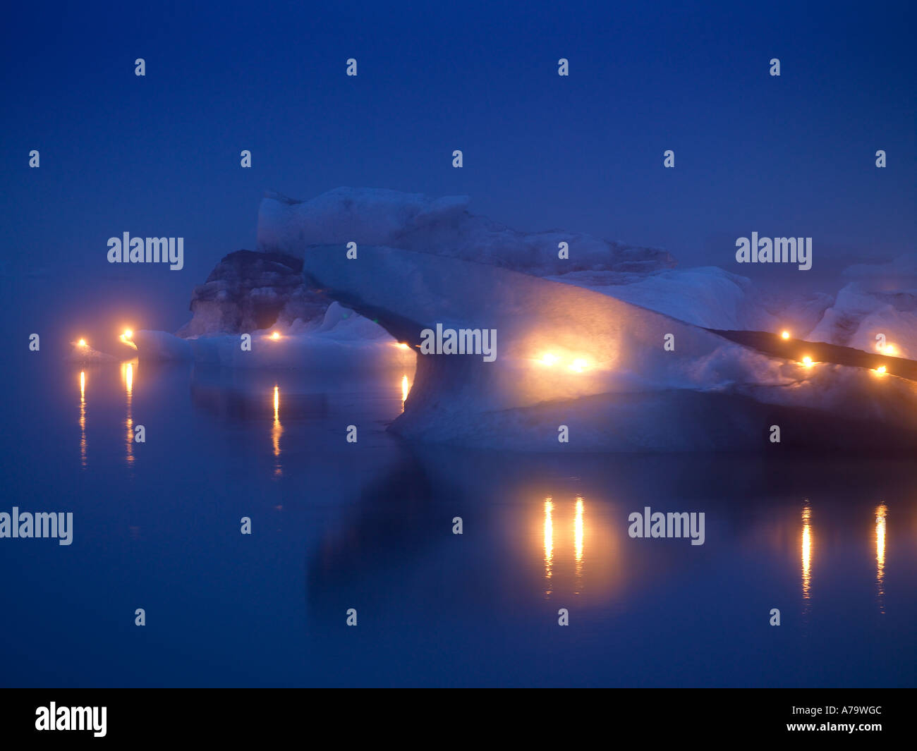 Candle light on Icebergs,  Jokulsarlon, Iceland - Stock Image