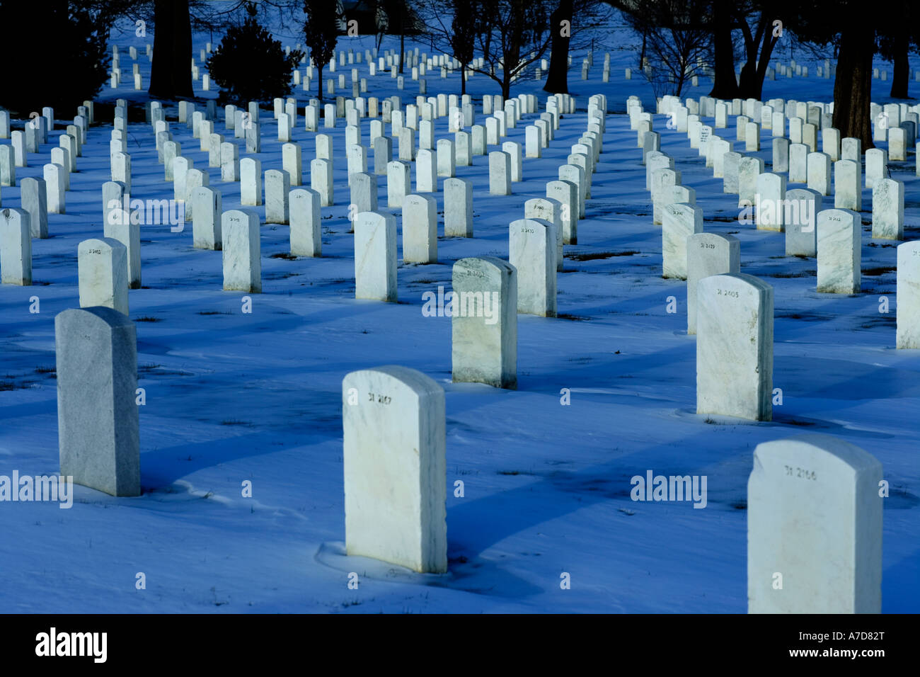 https://c7.alamy.com/comp/A7D82T/rows-of-headstones-in-arlington-national-cemetery-in-the-snow-at-night-A7D82T.jpg