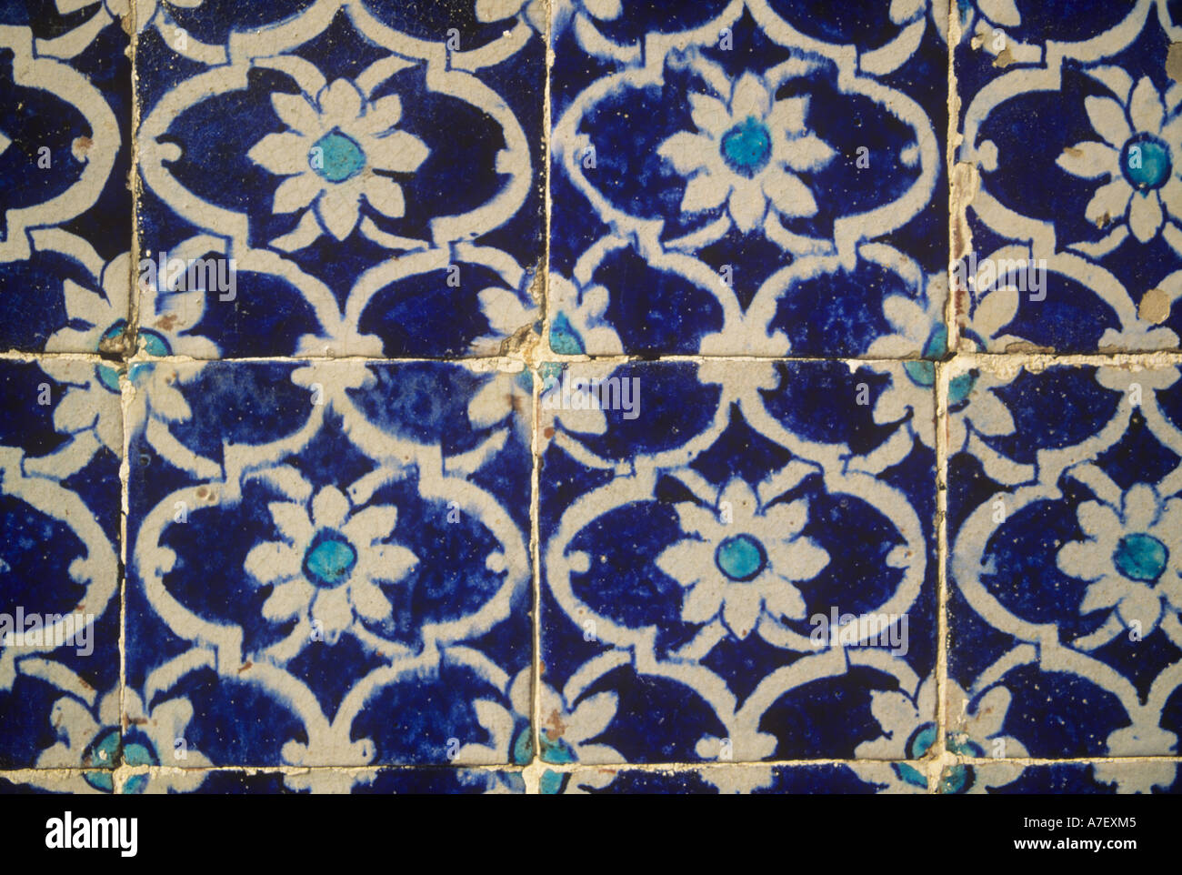 Tilework on a Kalhora Mosque, c.17th-18th, Sindh, Pakistan - Stock Image