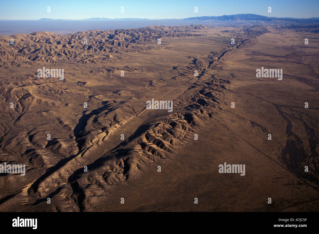 SAN ANDREAS FAULT, Aerial of fault in Carrizo Plain, Central California Stock Photo