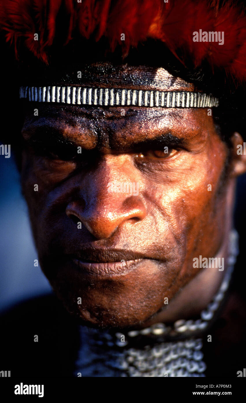 Indonesia, Papua, Irian Jaya, Baliem Valley, a Papuan of Danis tribe - Stock Image