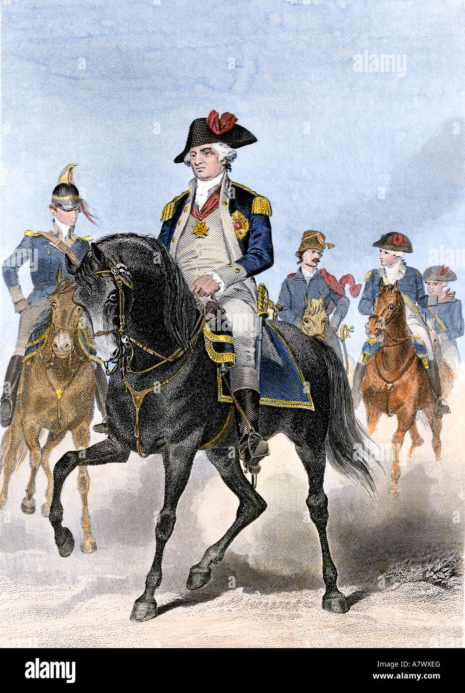 Prussian Baron von Steuben on horseback with Continental Army officers at Valley Forge - Stock Image