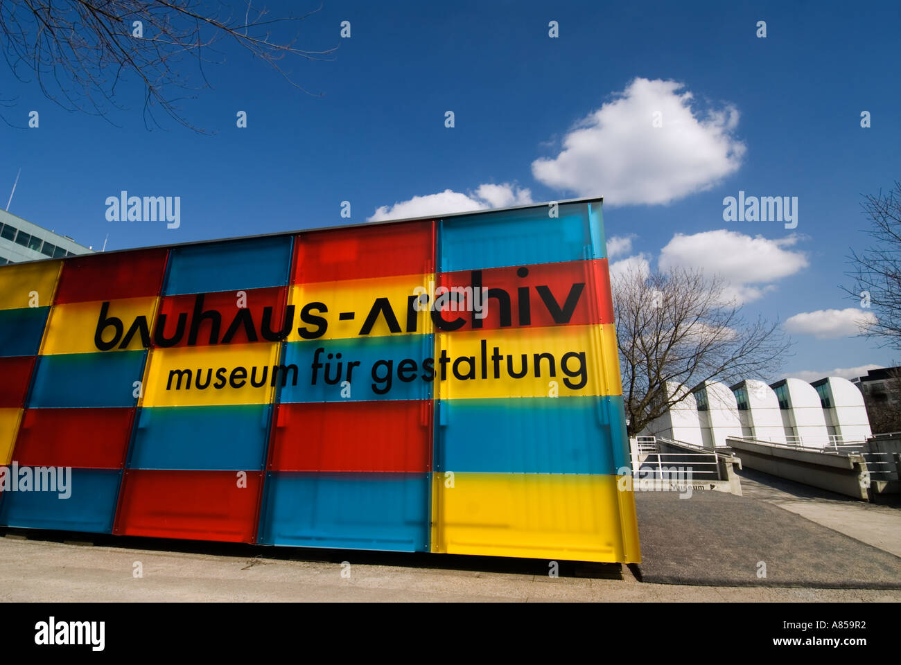 Entrance to Bauhaus Archive Museum in Berlin Germany - Stock Image