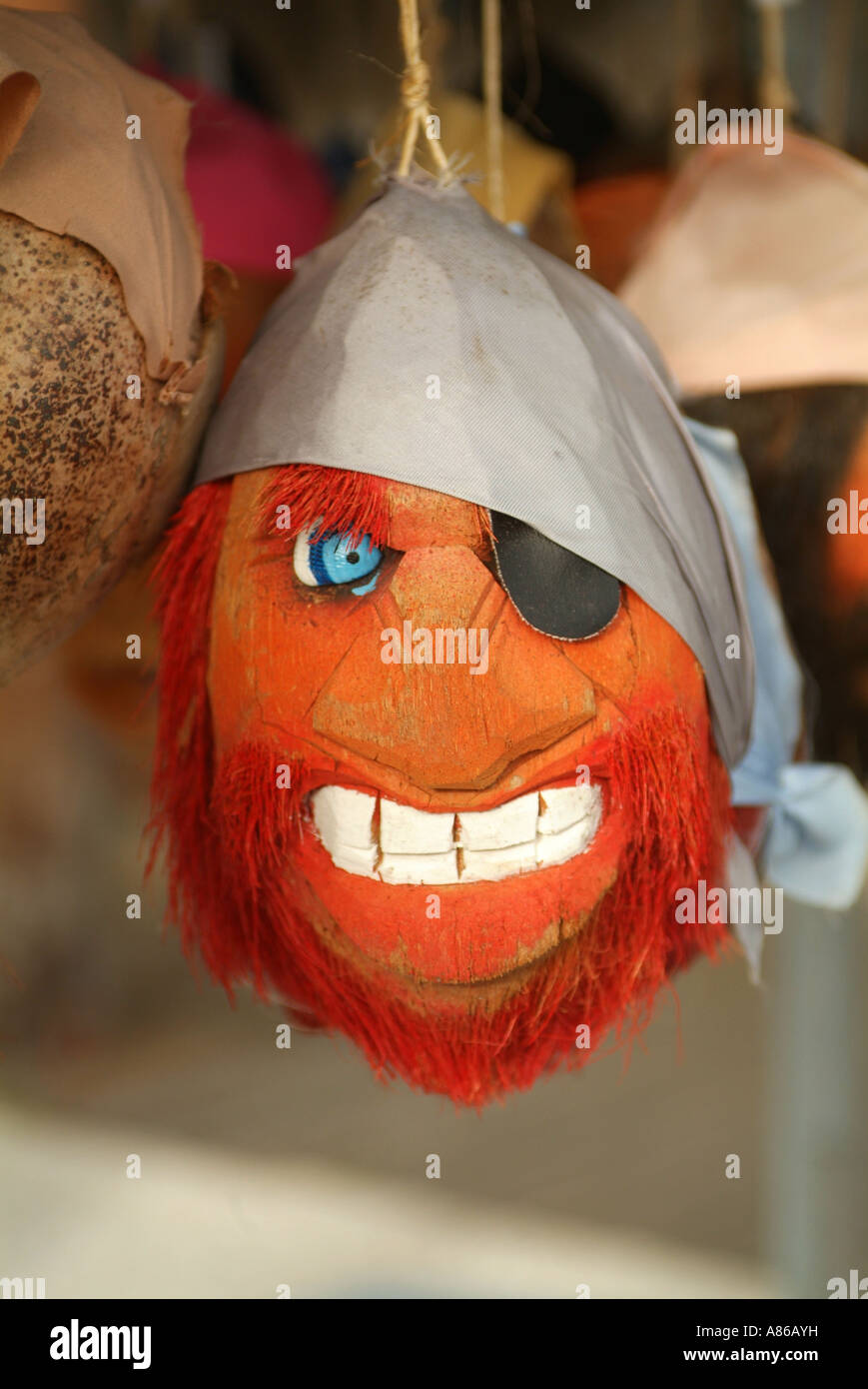 A pirate coconut head is sold to tourists who come to visit Key West Stock Photo