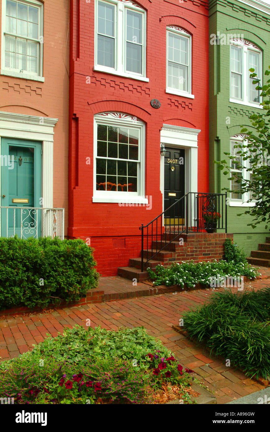 USA Washington DC Georgetown Row housesStock Photo