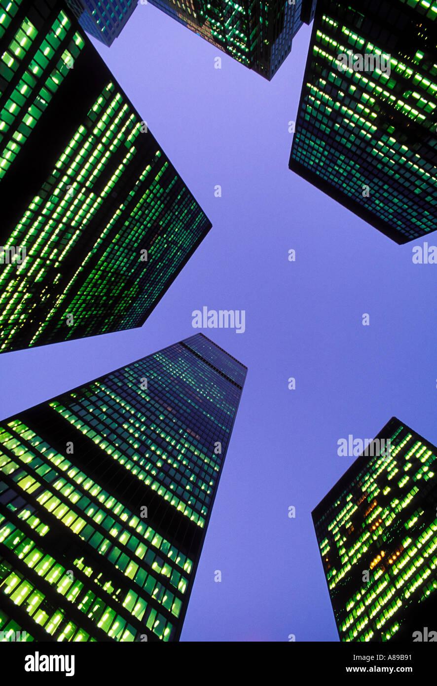 Canada Ontario Toronto Office towers illuminated at night - Stock Image