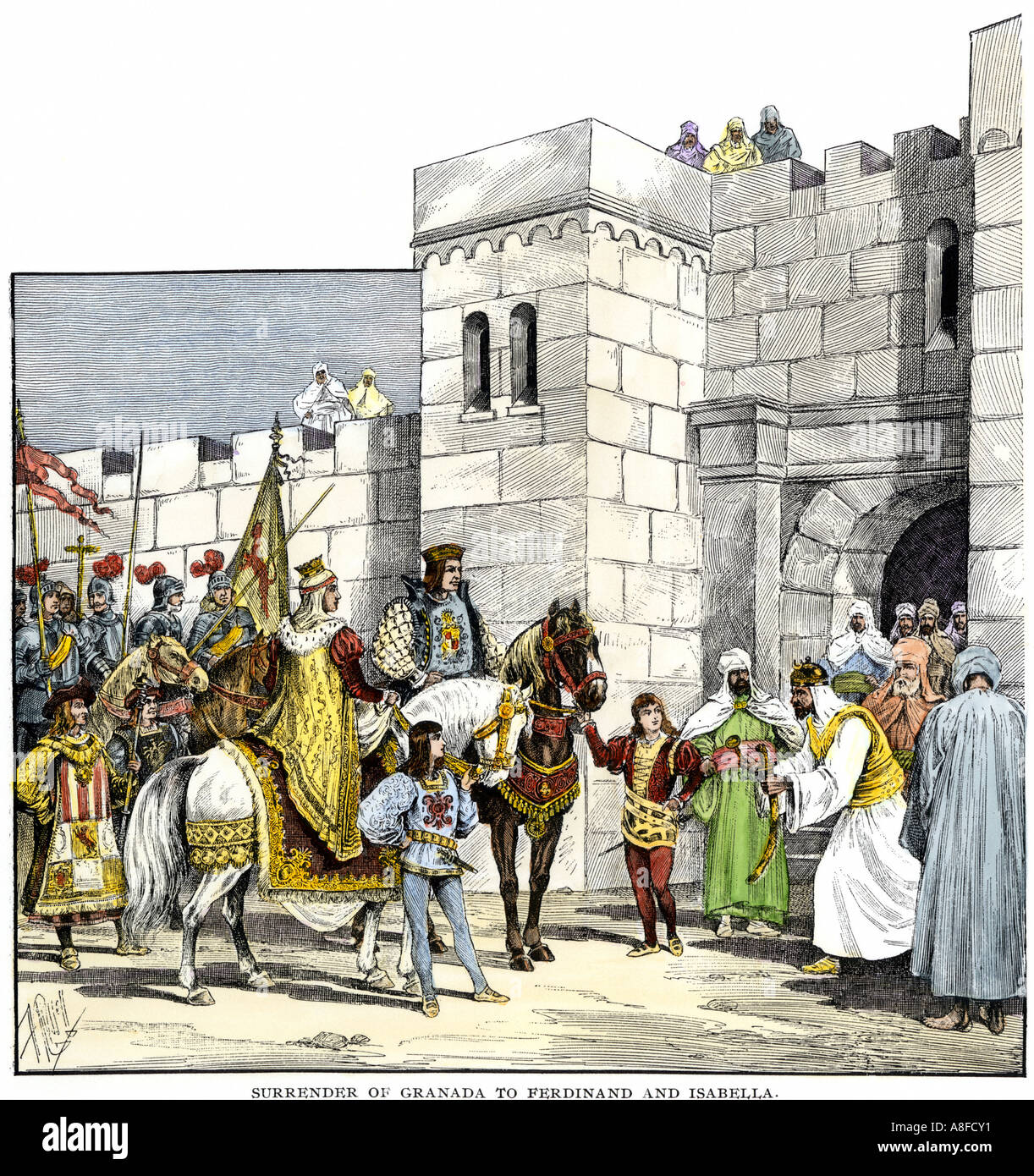 Surrender of the Moors at Granada to Isabella and Ferdinand 1492 - Stock Image