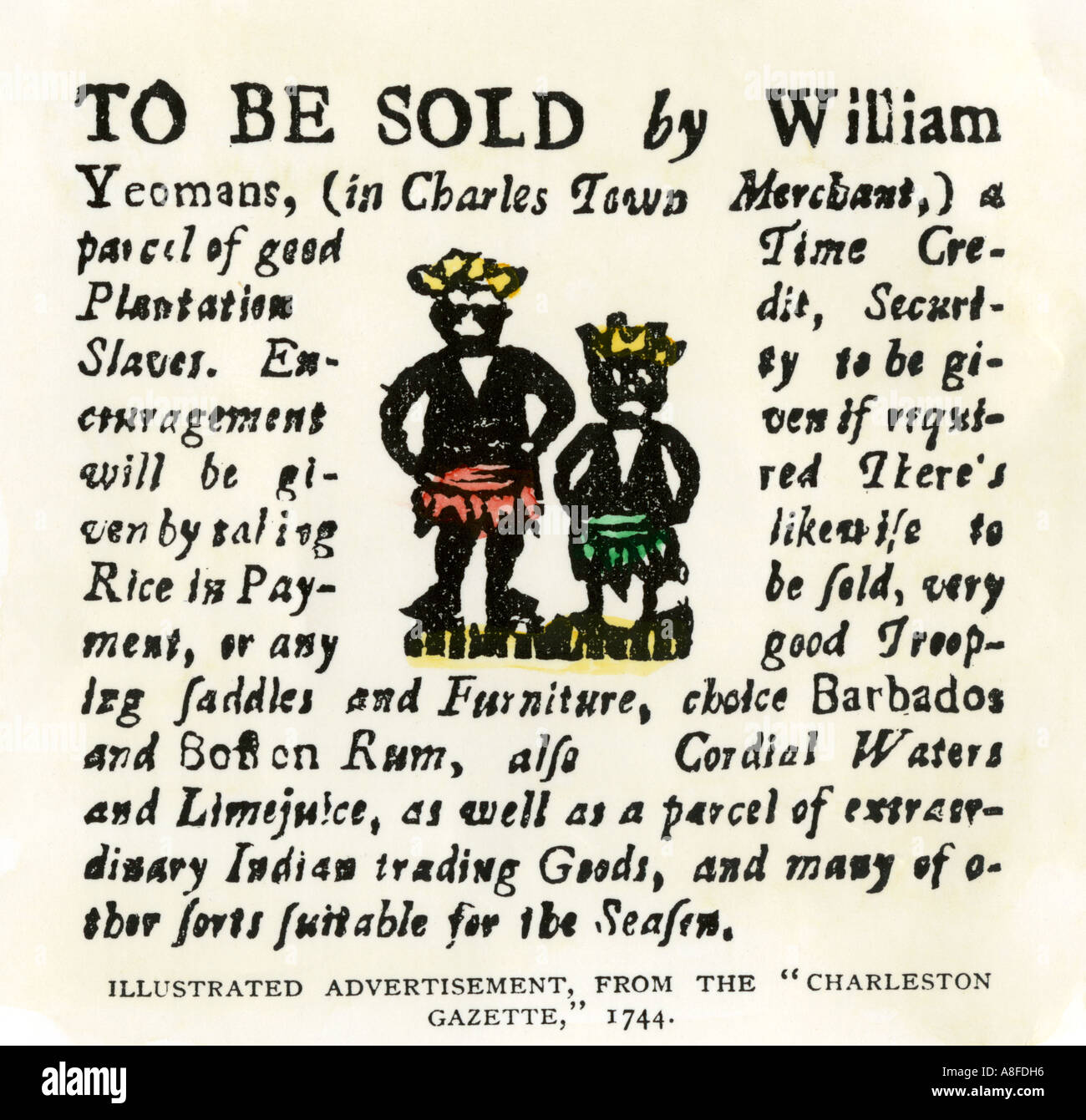 Sale of slaves Barbados rum and seafaring goods advertisement from the Charleston Gazette South Carolina 1744 - Stock Image