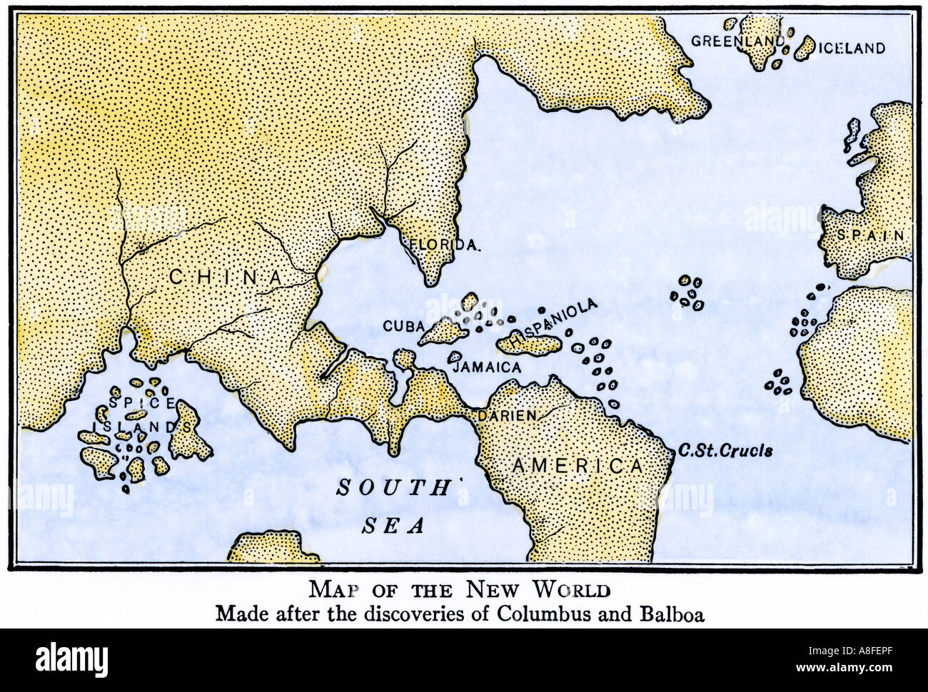 New world map showing south america attached to asia as assumed new world map showing south america attached to asia as assumed after the disoveries of columbus and balboa gumiabroncs Image collections