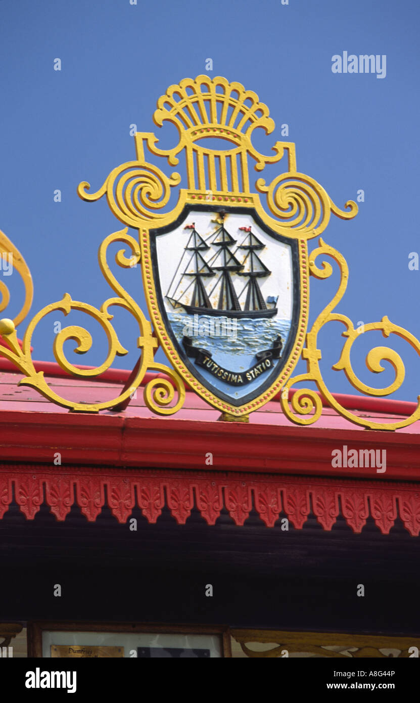 Stair Park Stranraer emblem depicting Stranraers seafaring heritage of the town on bandstand Scotland UK - Stock Image