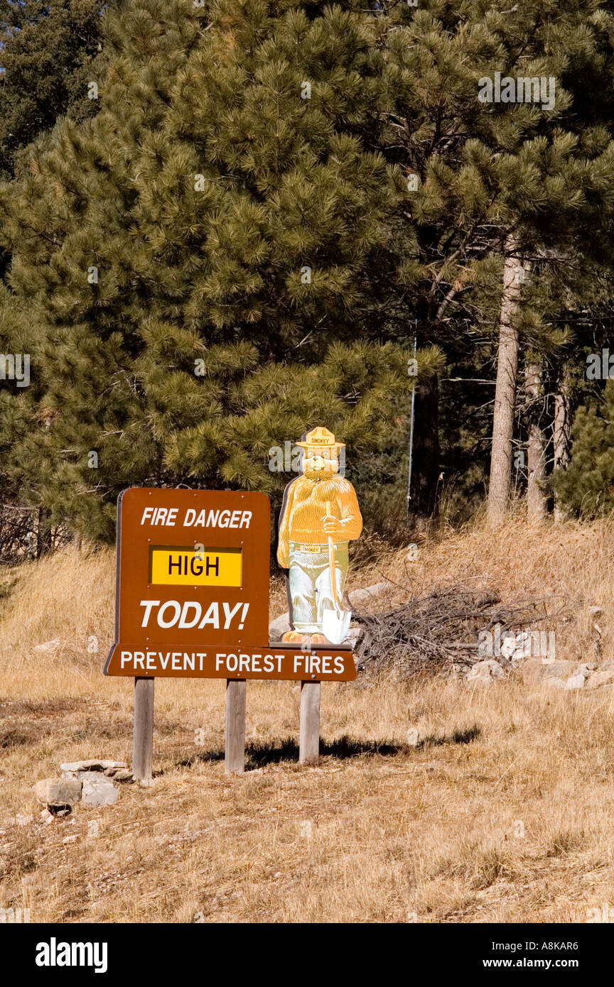 Smokey Bear Forest Sign Advising of High Risk of Forest Fire Stock Photo