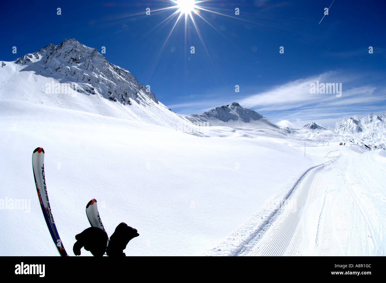 winter-landscape-with-skis-sun-and-prepa