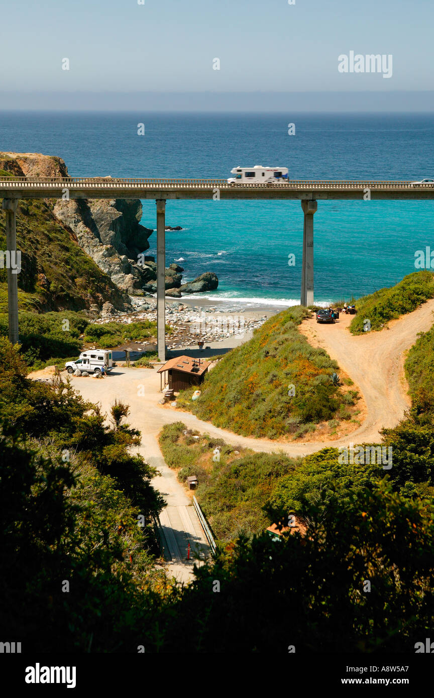 The campground and Highway 1 at Limekiln State Park Central Coast Big Sur California Stock Photo