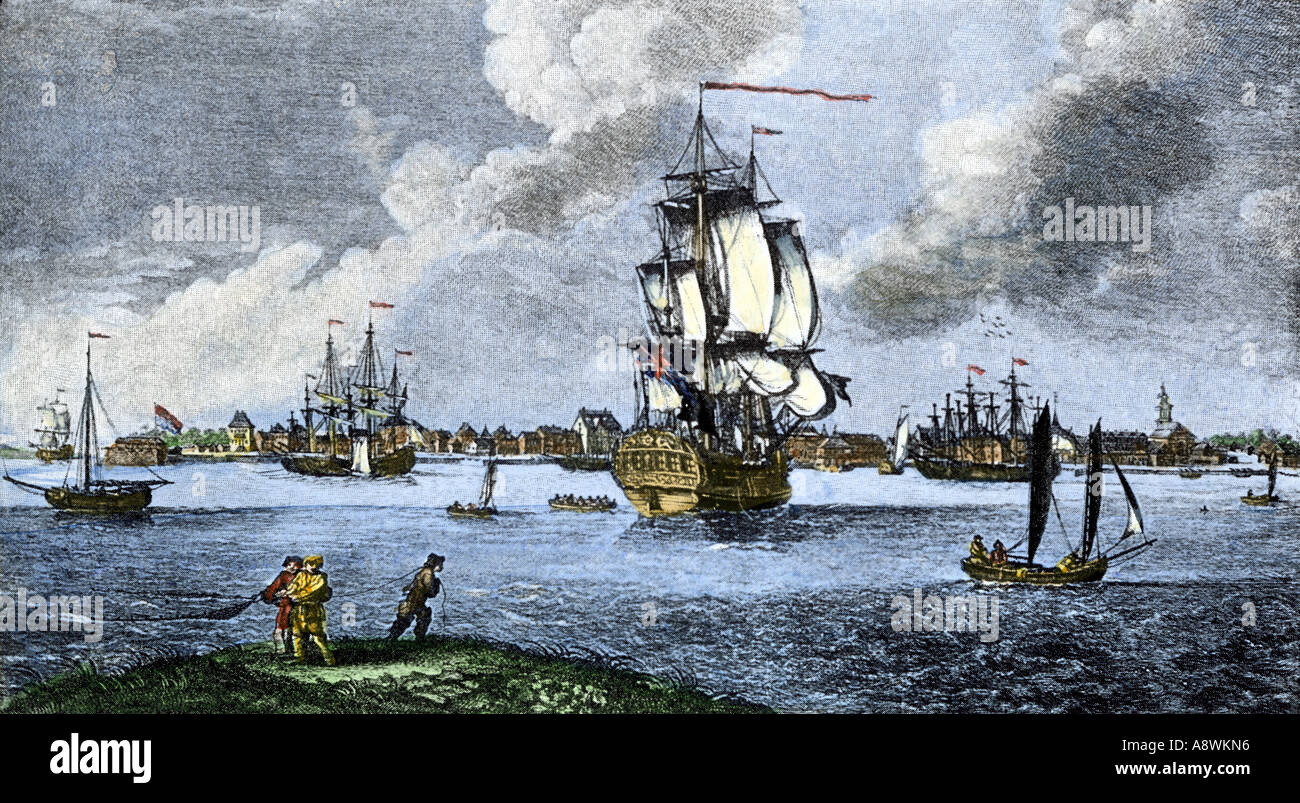 Port of Charleston South Carolina before the American Revolution late 1700s - Stock Image