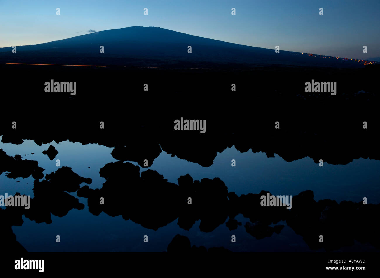 Hualalai volcano at twilight Stock Photo