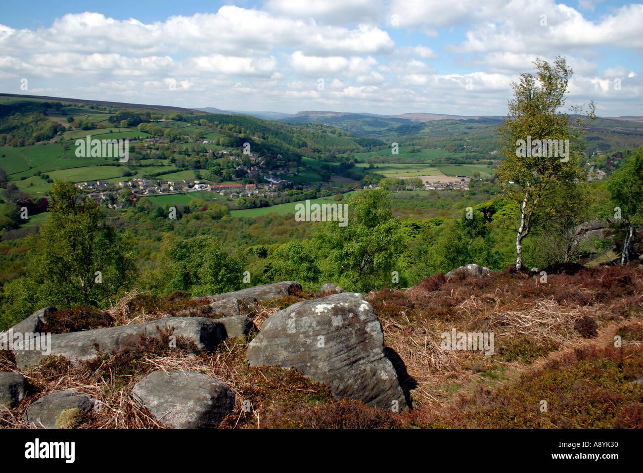 Grindleford from Froggatt Edge Derbyshire England - Stock Image