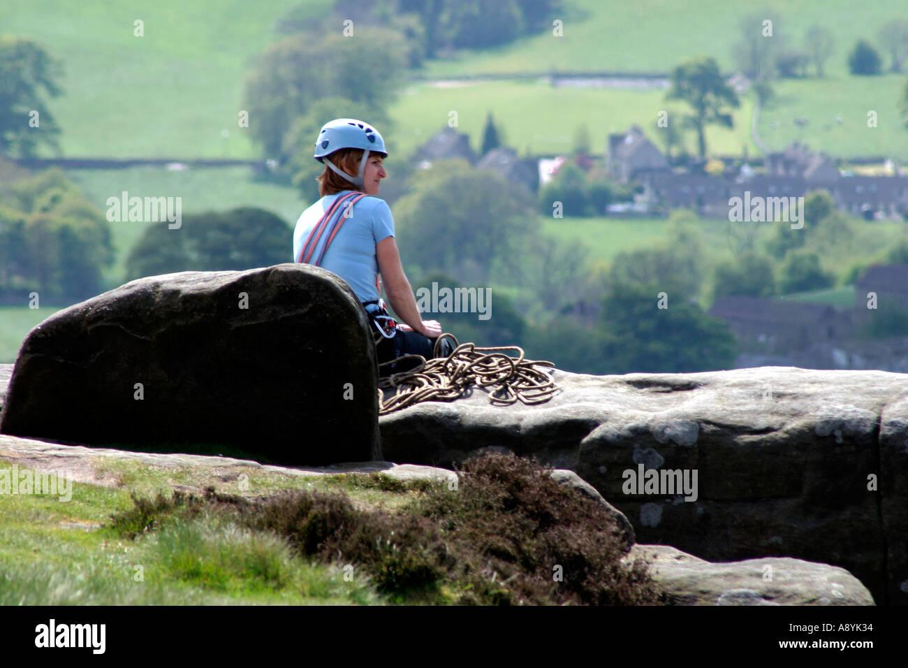 Climbers on Froggatt Edge Derbyshire England - Stock Image