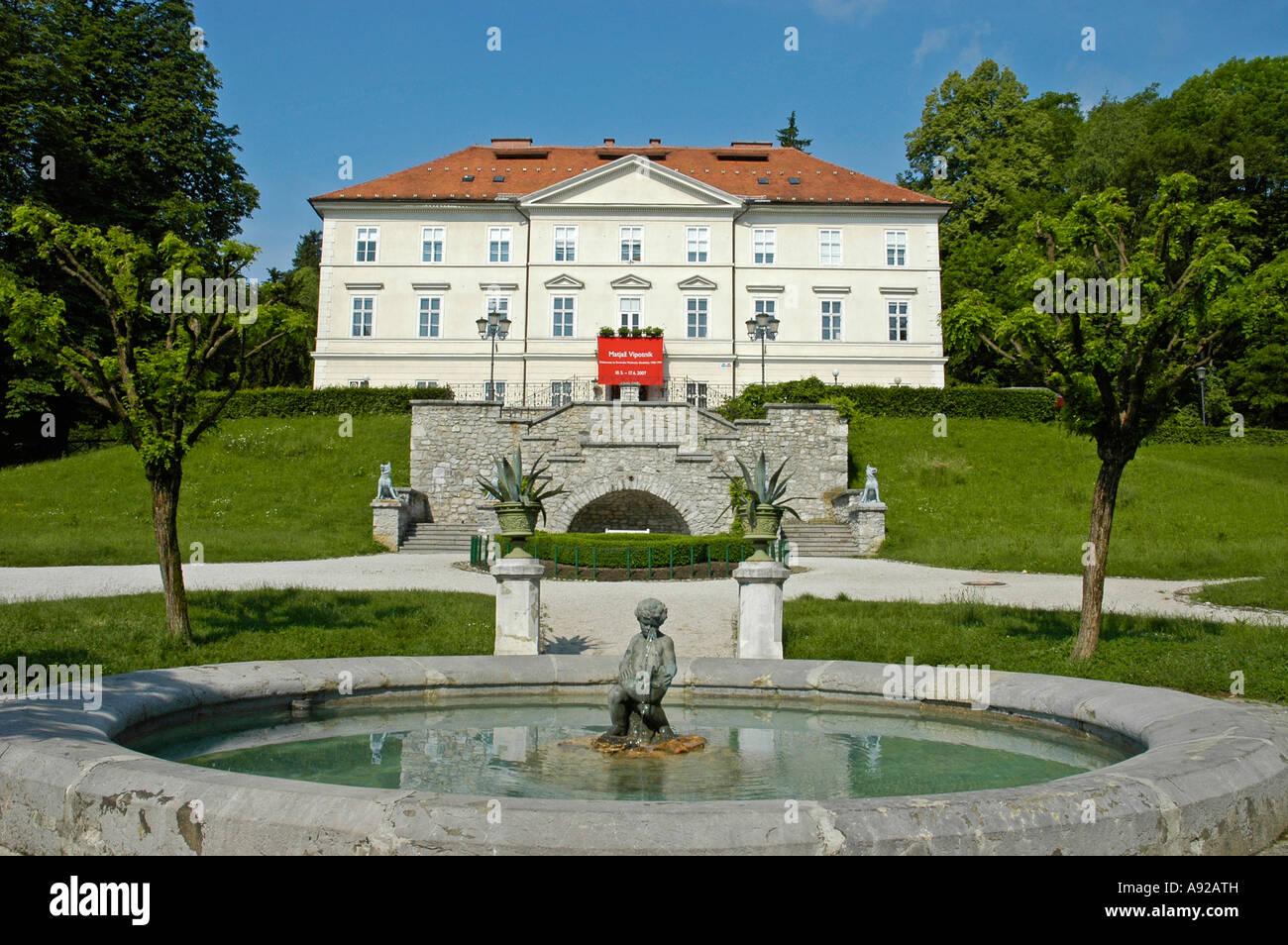 Tivoli castle, international graphic art centre, Ljubljana, Slovenia - Stock Image