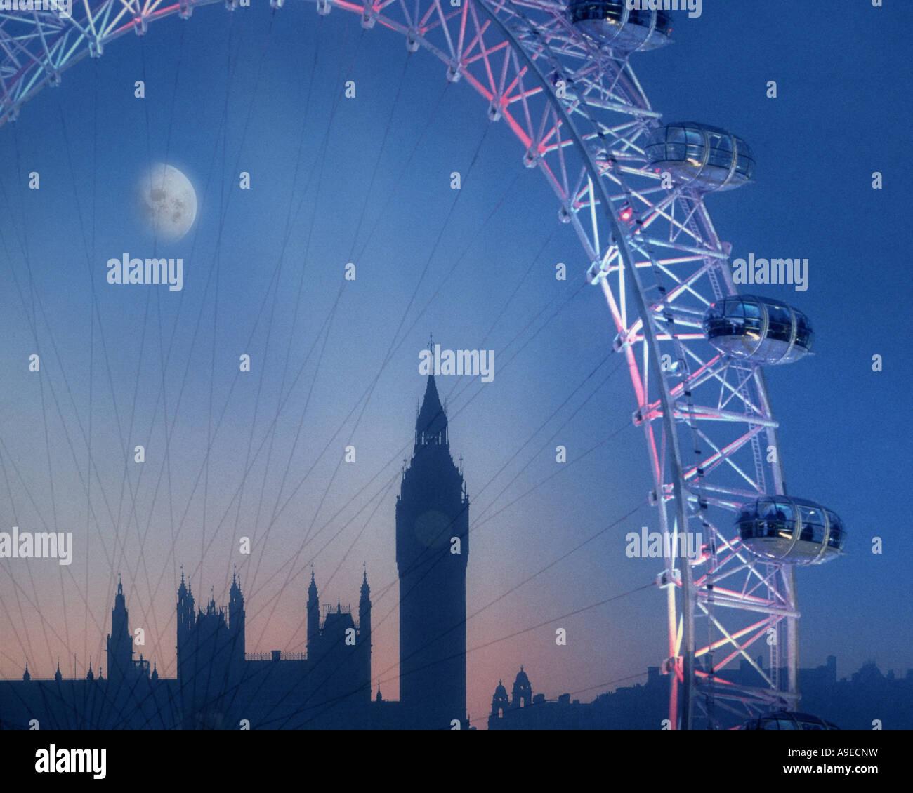 GB - LONDON:  The London Eye & Big Ben by night - Stock Image