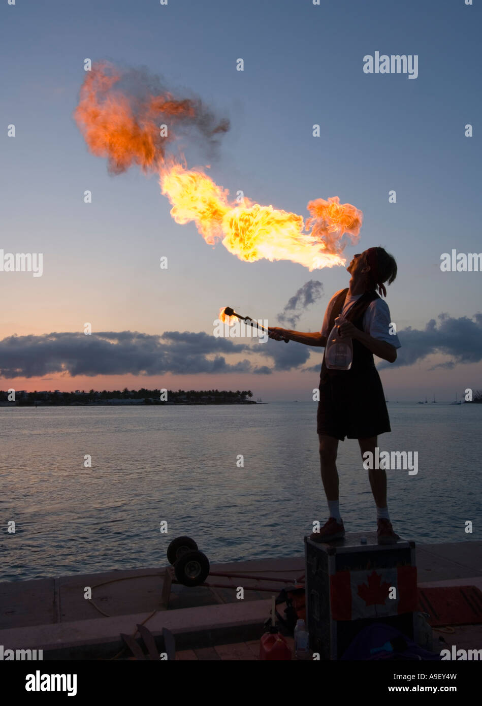 mallory-square-fire-breather-sunset-celebrations-key-west-florida-A9EY4W.jpg
