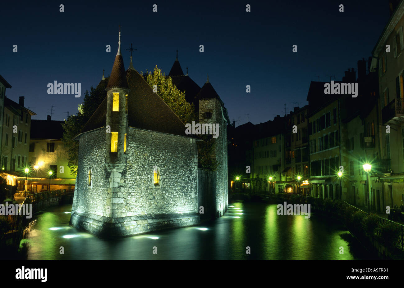 picturesque old town of Annecy, Palais d' Isle illuminated at night, France, Rhne-Alpes, Annecey. - Stock Image