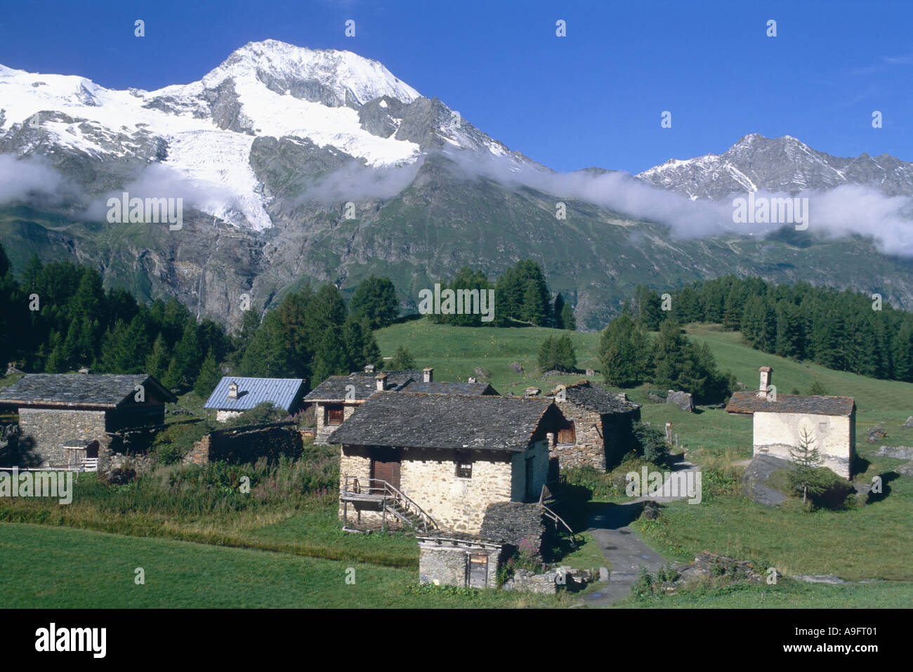 village Le Monal (1874 ft) in the village Tarentaise, with glaciers of Mont Pourri in background, France, Rhne-Alpes. - Stock Image