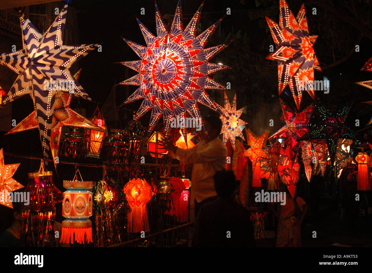 Diwali Indian Festival Of Lights Celebration In India Also Christmas Paper  Lamps Kandeel Star Shaped Circular Asia