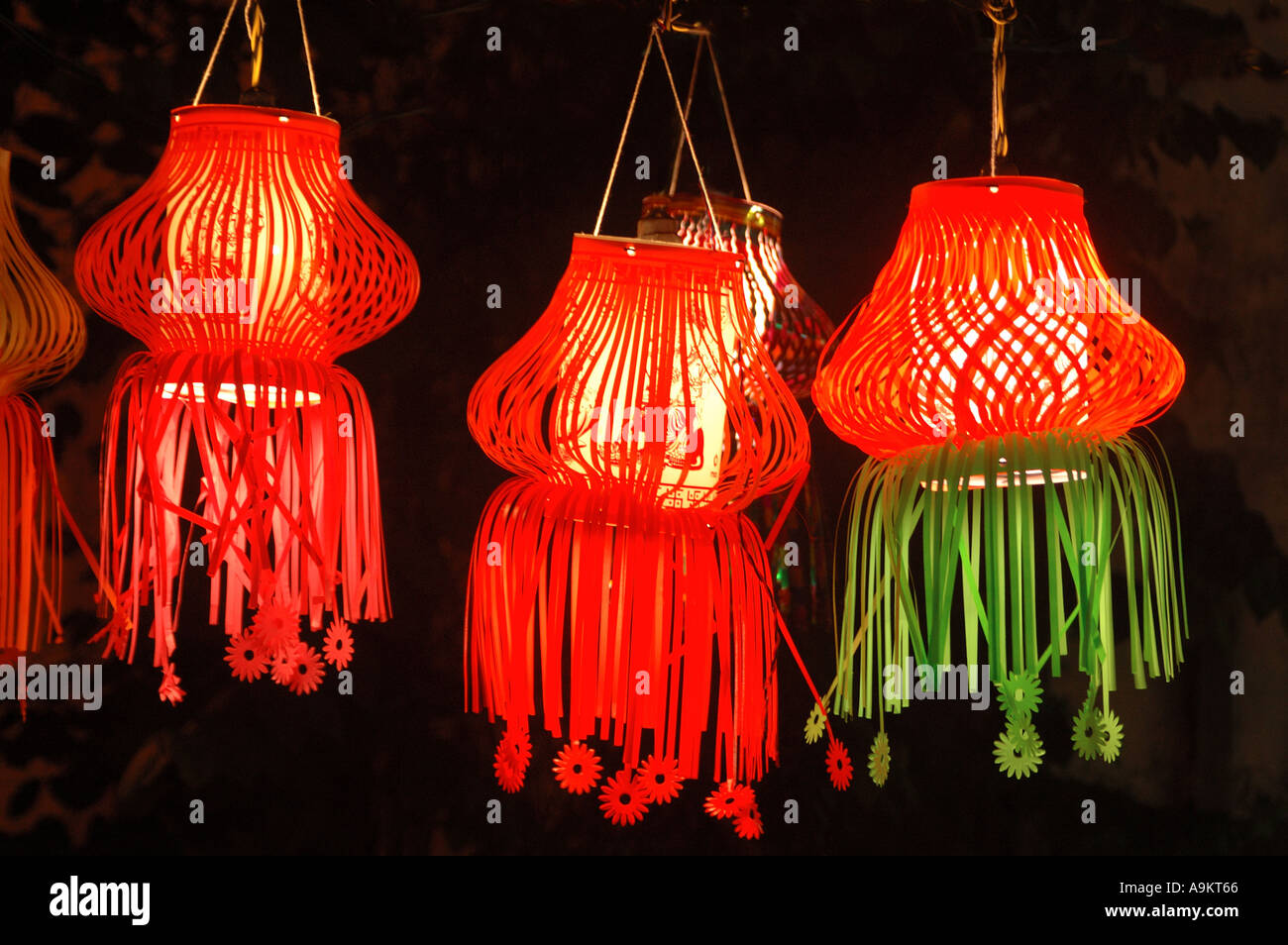 Attractive Diwali Indian Festival Of Lights Christmas Colourful Paper Lamps Red  Lanterns Kandeel Three Pieces Hanging For Sale India Asia