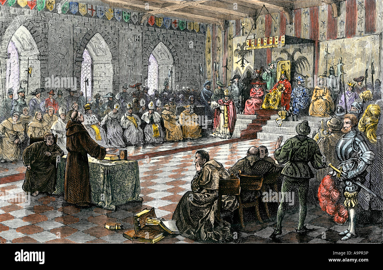 martin luther before holy roman emperor charles v at the diet of