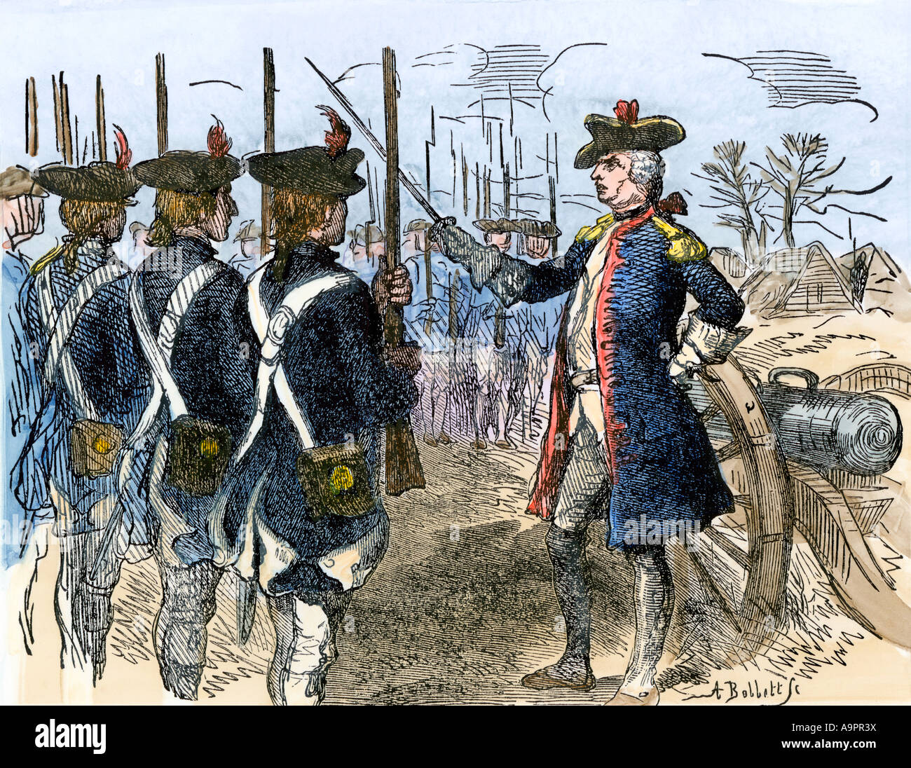 Baron Friedrich Wilhelm von Steuben drilling the American troops at Valley Forge during the Revolutionary War - Stock Image