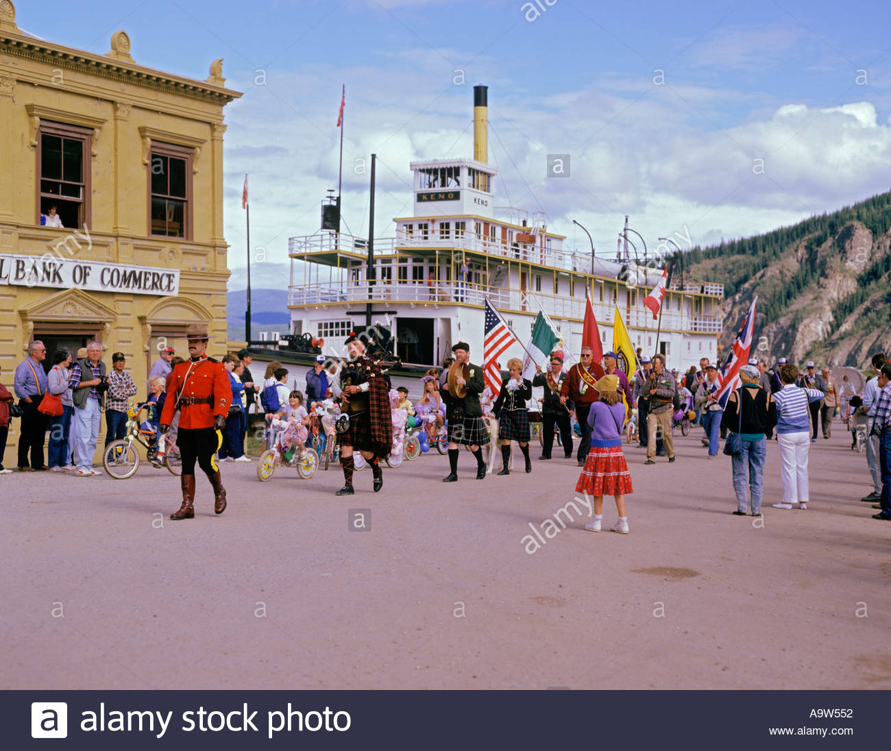 Royal Canadian Mounted Police lead the Discovery Day parade Dawson City Yukon Territory CanadaStock Photo
