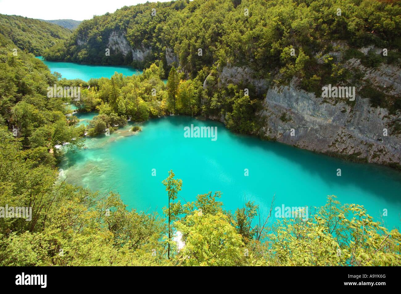Turquoise lakes and lavish vegetation at the national park of Plitvicer lakes, Croatia - Stock Image