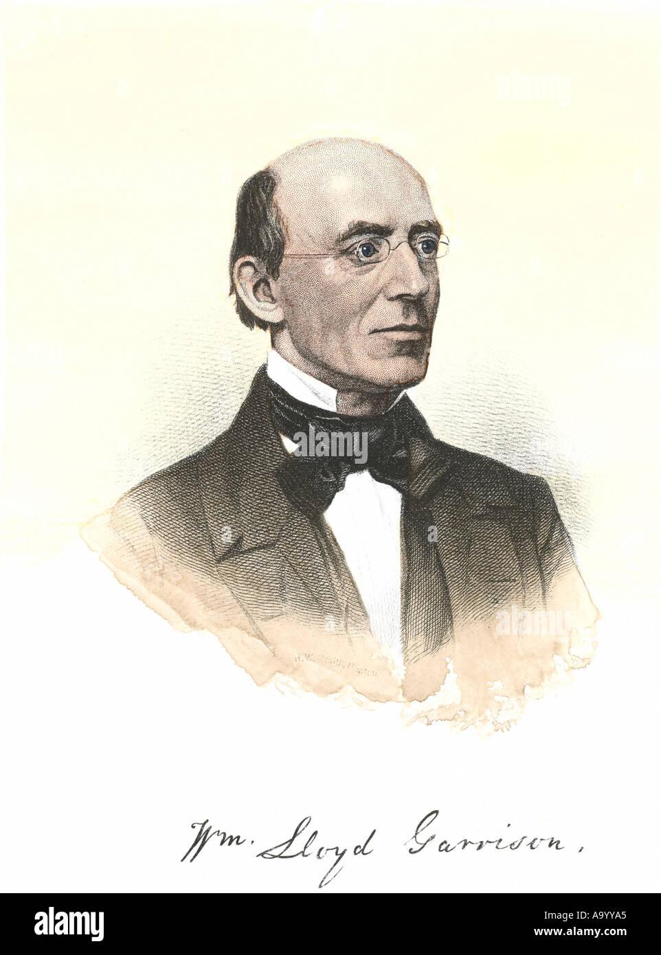 William Lloyd Garrison portrait with autograph - Stock Image