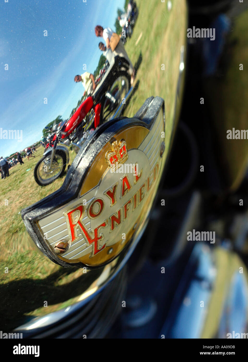 Royal Enfield badge, and reflections in a chrome petrol tank at a motorcycle rally in Redditch, Worcestershire Stock Photo