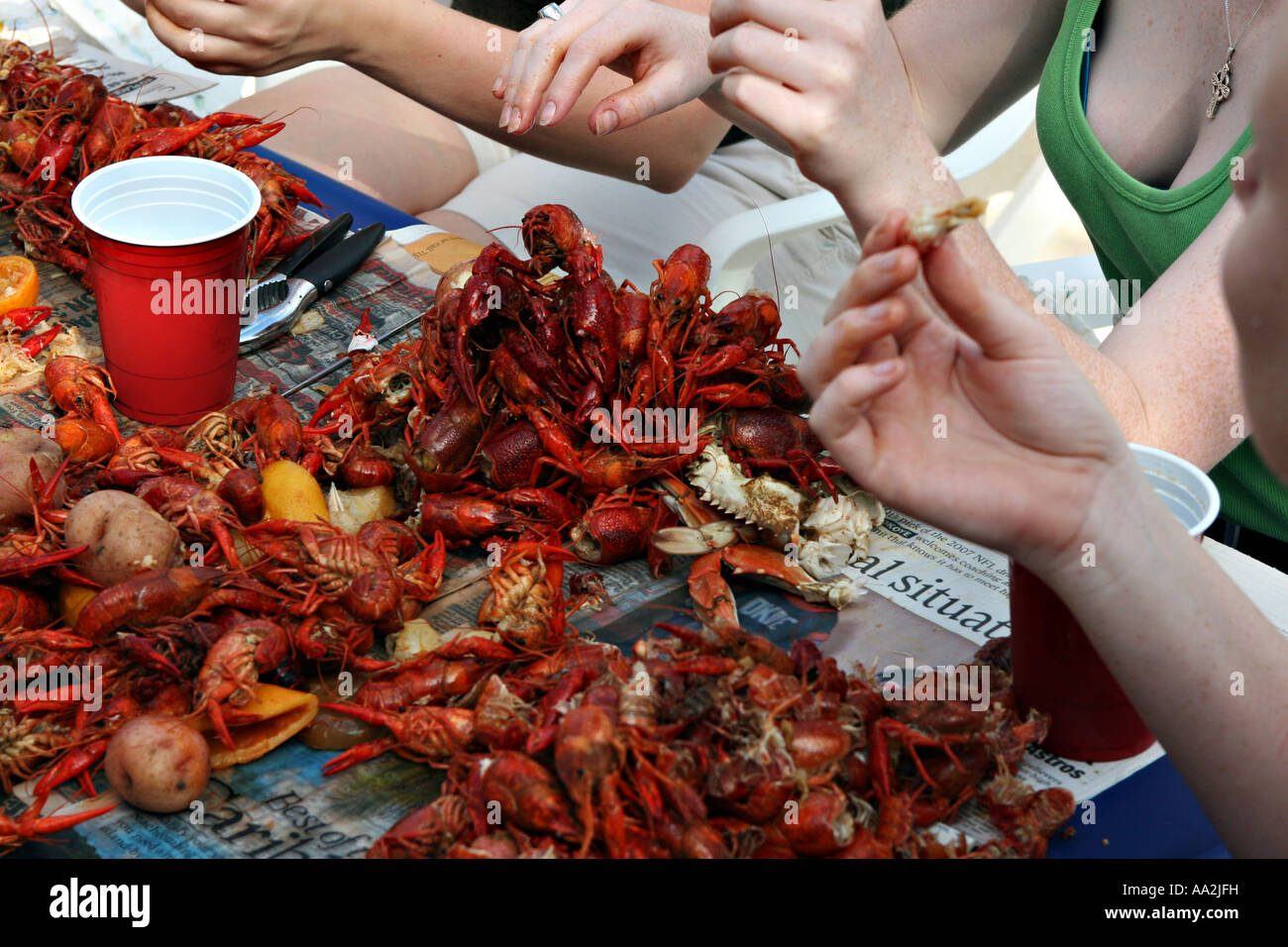 A pile of half eaten crawfish at a backyard crawfish boil - Stock Image