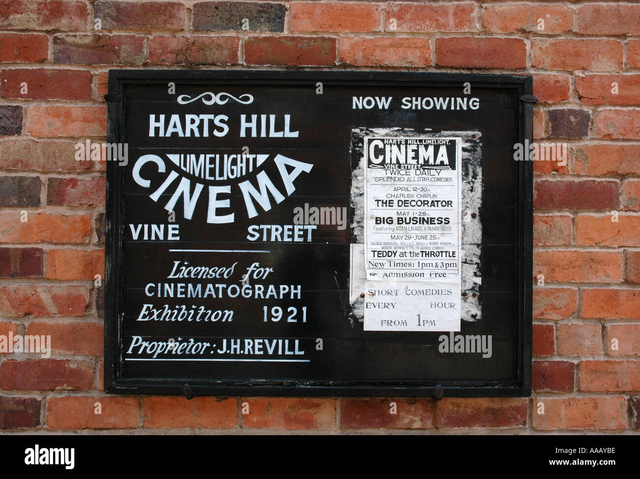 Authentic cinema sign notice board - Stock Image
