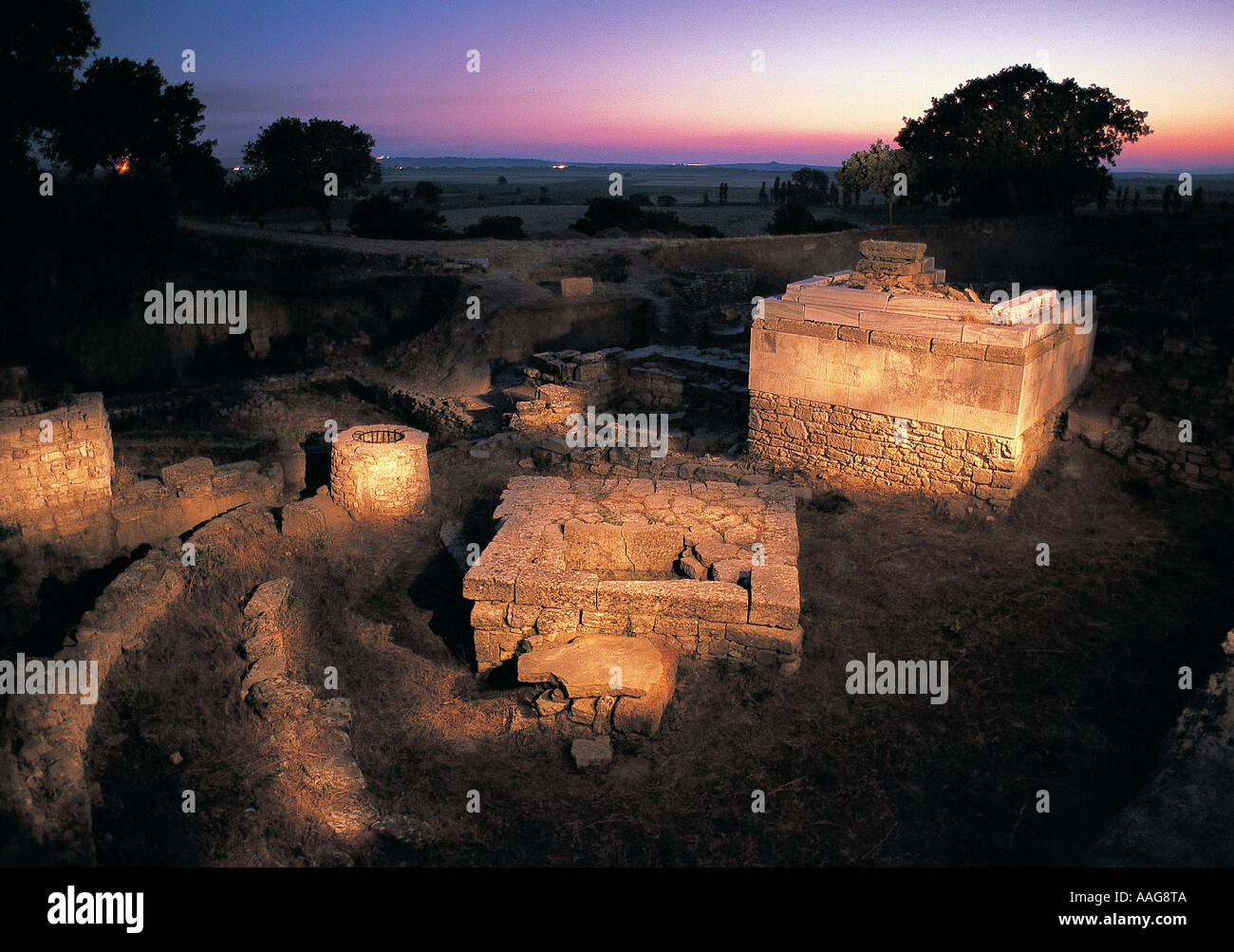 Altars in Troy ancient city, Canakkale Turkey. Stock Photo