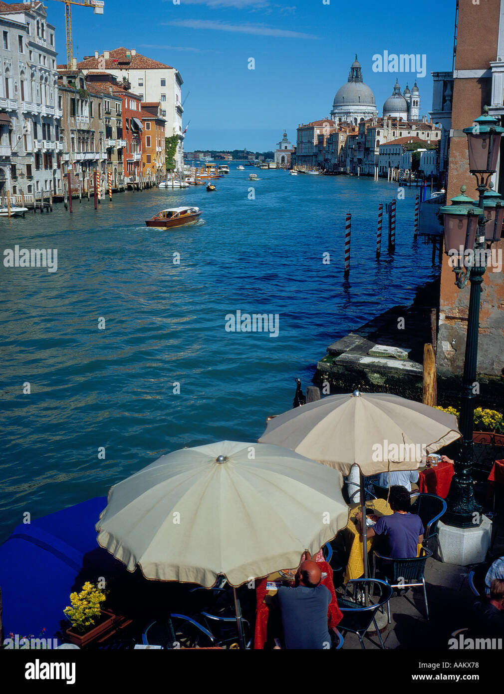 view from bridge at Accademia on Canal Grande, Venice, UNESCO World Heritage Site,  Italy, Europe. Photo by Willy - Stock Image