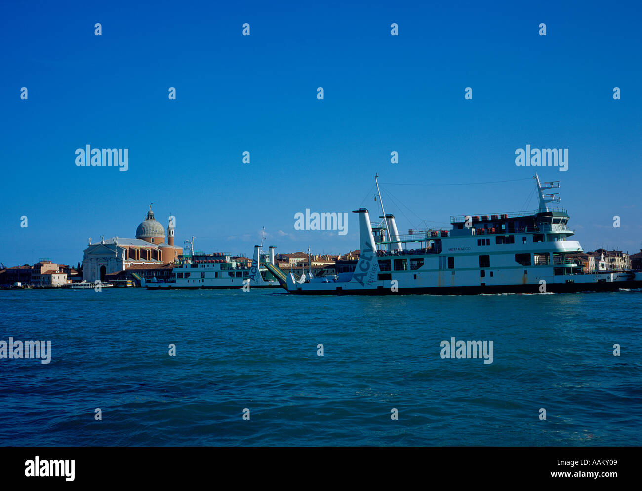 car ferry on Canale della Guidecca and the church of Redentore Venice, UNESCO World Heritage Site,  Italy,  Europe. - Stock Image