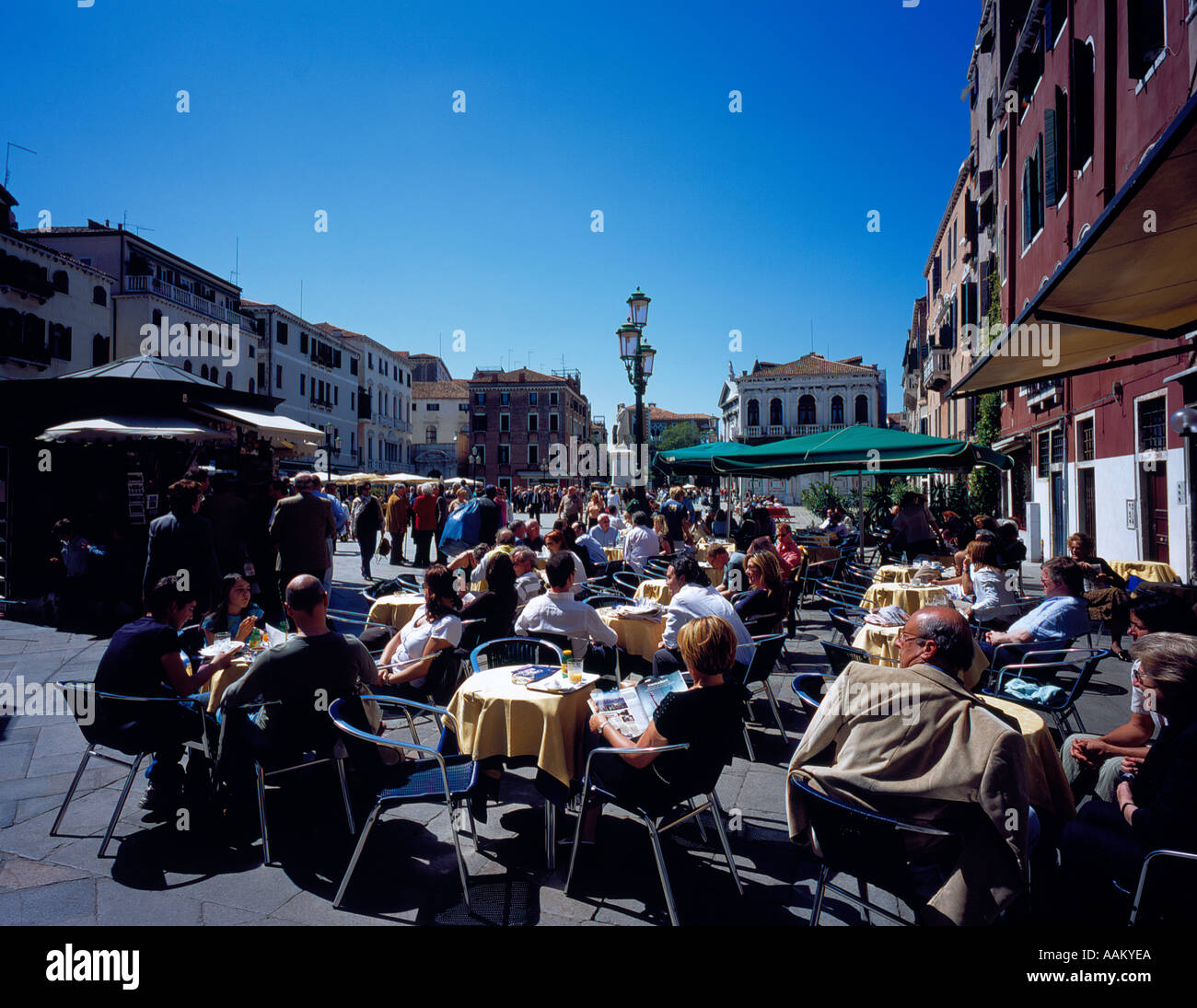 restaurant at Campo San Stefano, Venice, UNESCO World Heritage Site, Italy,  Europe. Photo by Willy Matheisl - Stock Image