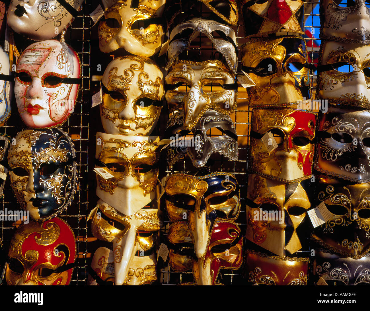 masks for sale at the  famous carnival of Venice, UNESCO World Heritage Site, Italy, Europe. Photo by Willy Matheisl - Stock Image