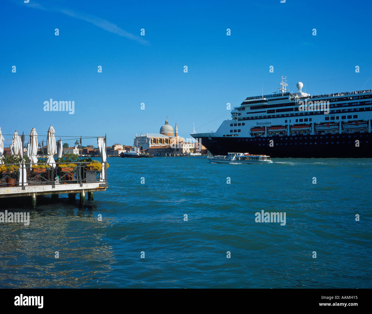 ocean liner Rotterdam at Canale della Guidecca, Venice,UNESCO World Heritage Site, Italy, Europe. Photo by Willy - Stock Image