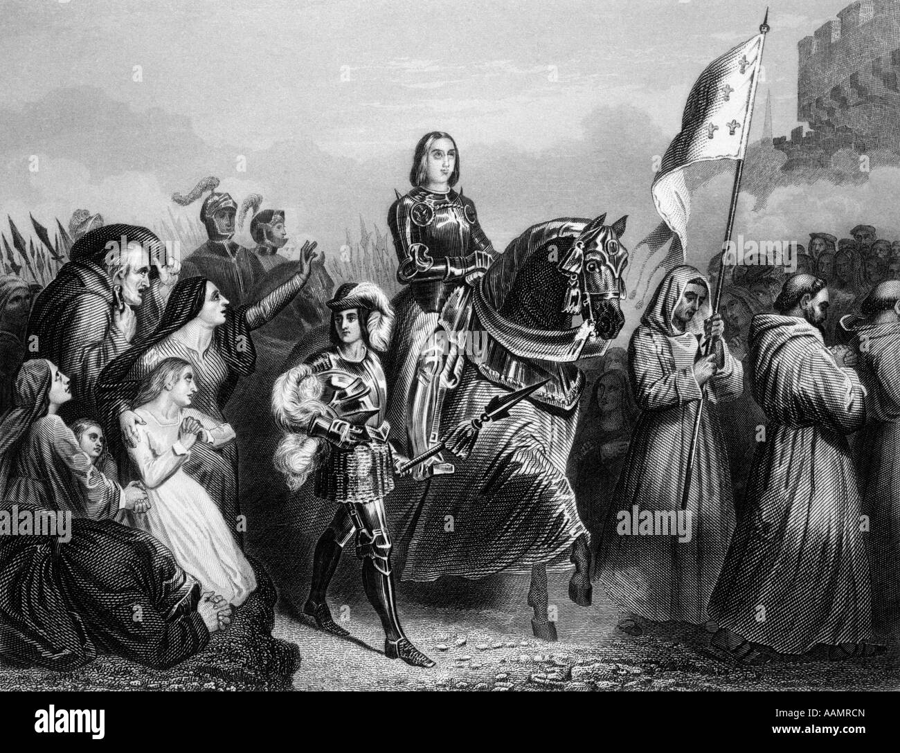 ENTRY OF JOAN OF ARC INTO ORLEANS 1429 FRENCH SAINT WOMAN MILITARY LEADER HEROINE CATHOLIC MAID OF ORLEANS JEANNE Stock Photo