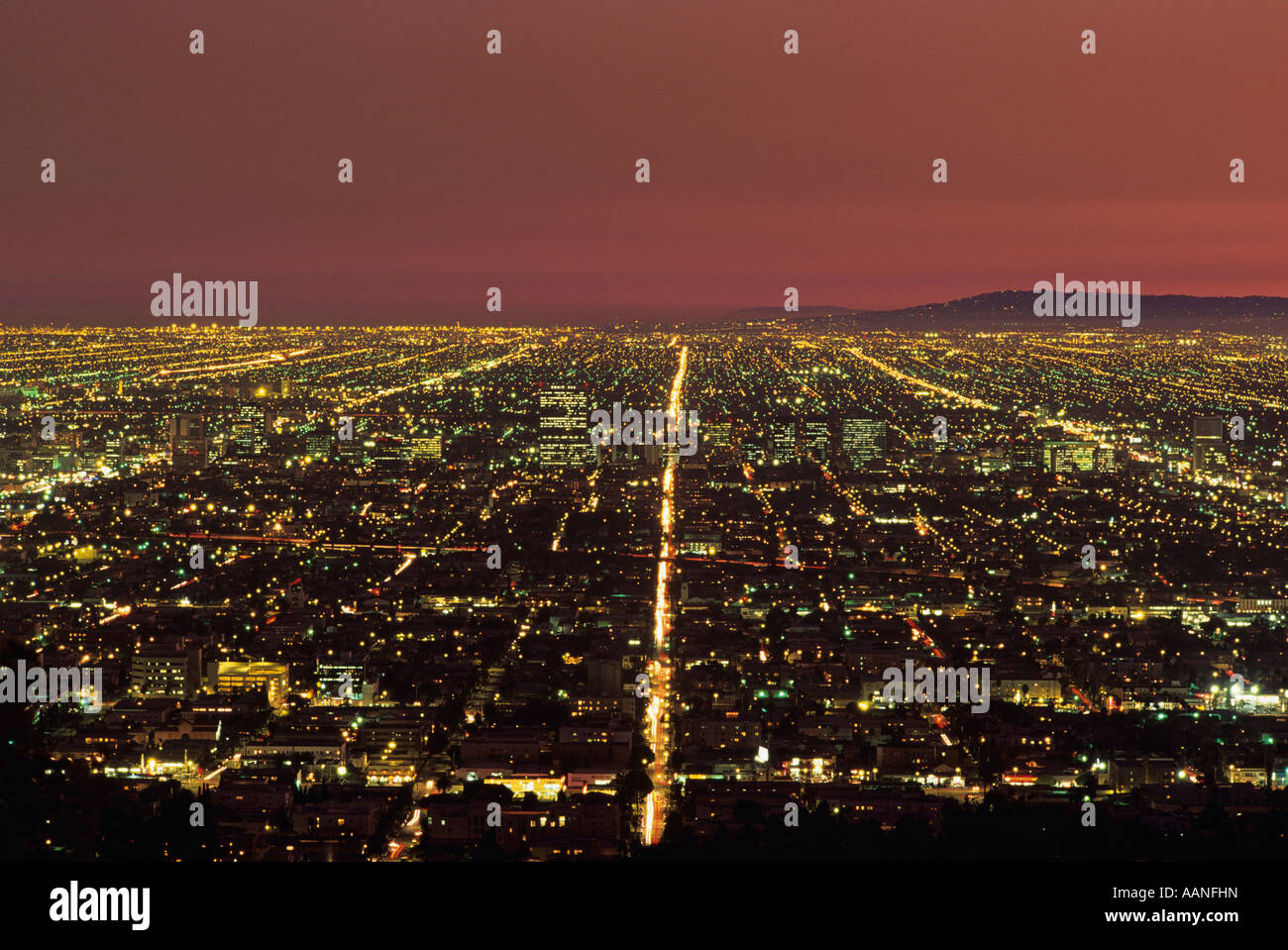 Row After Row Of City Lights Retreating Into The Distance From Griffith Park  Downtown Los Angeles California USA