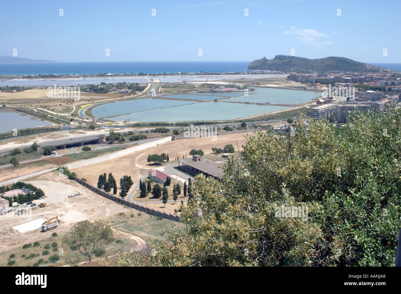 Cagliari Salt Flats and the so called Devils Saddle, Cagliari Salt Flats, Sardinia, Europe, Cagliari, sand, salt, - Stock Image