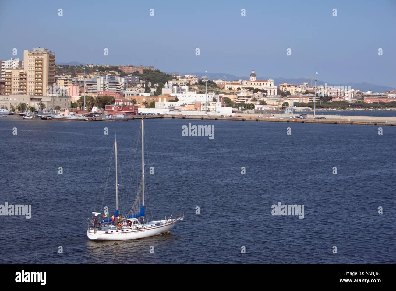Cagliari skyline and yacht, Sardinia, - Stock Image
