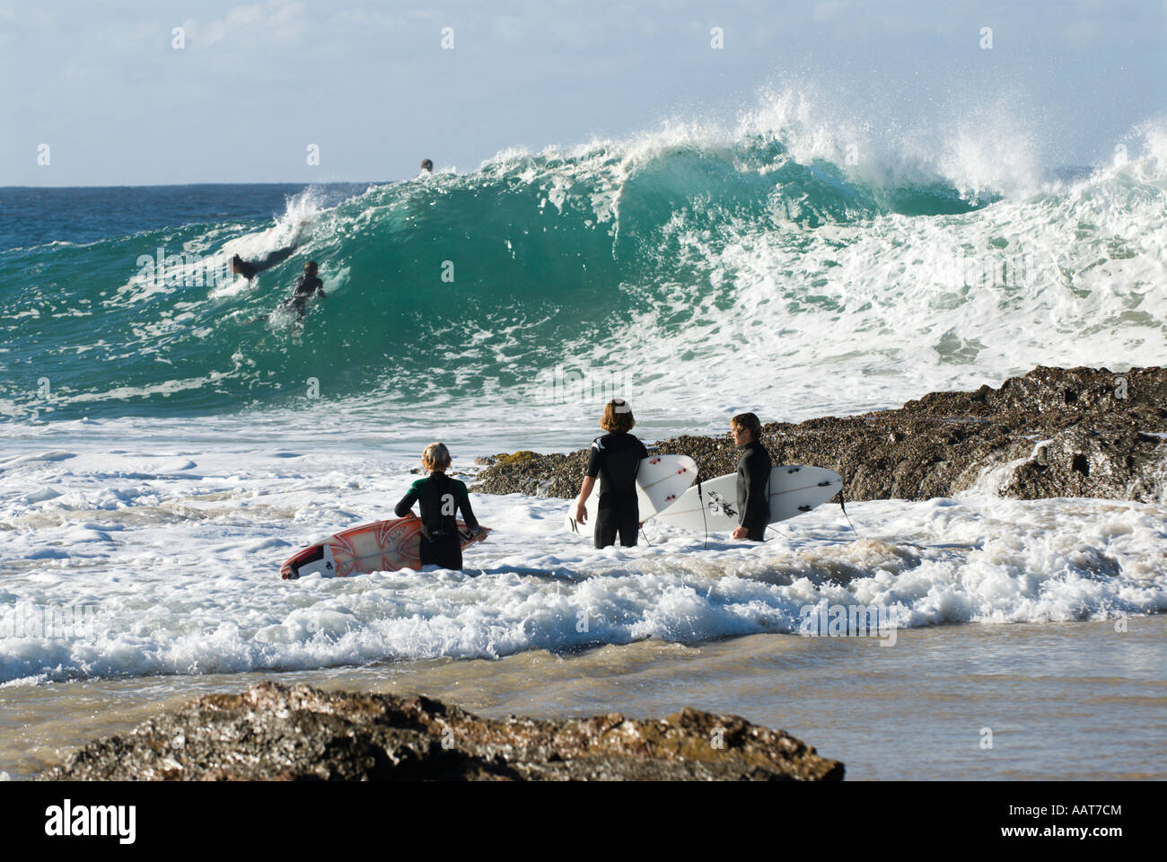 Surfing at Snapper Rocks/Superbank, Coolangatta, Gold Coast, Queensland, Australia Stock Photo