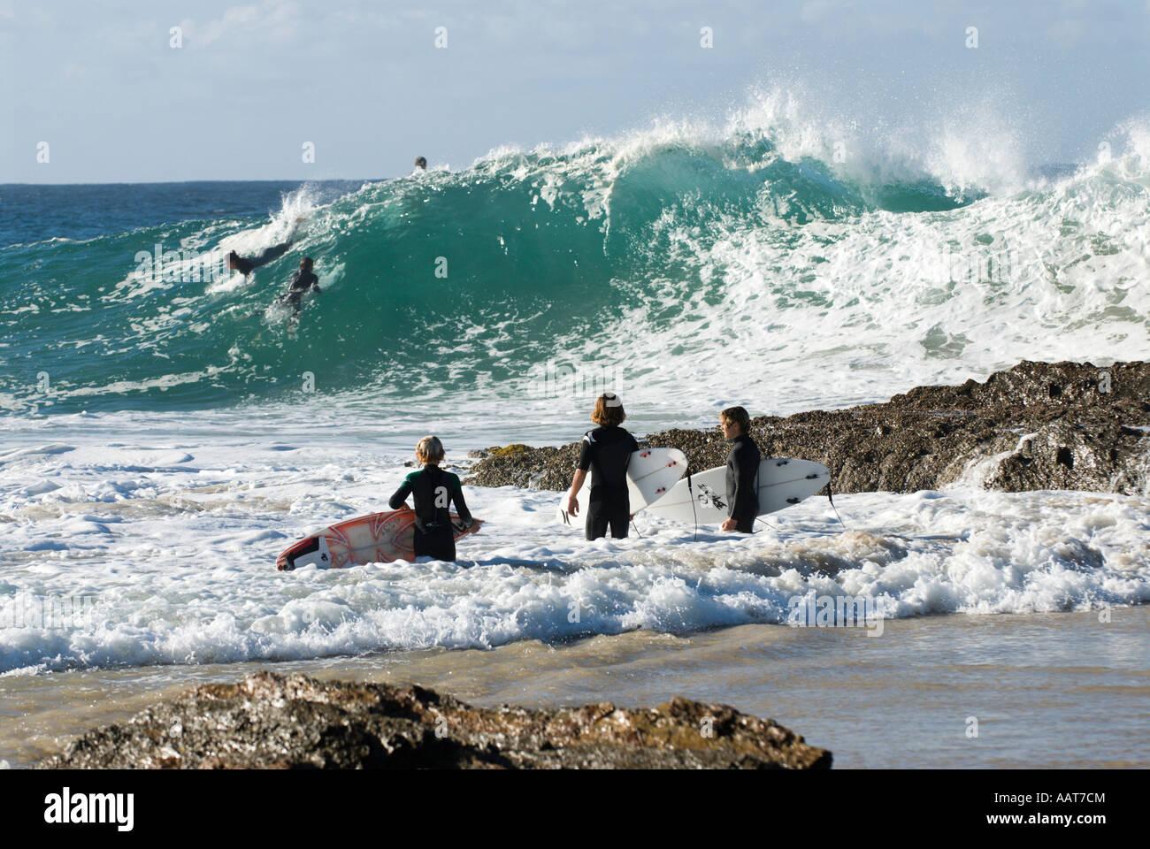 Surfing at Snapper Rocks/Superbank, Coolangatta, Gold Coast, Queensland, Australia Stock Photo
