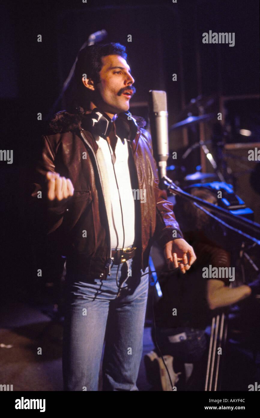 Freddie Mercury lead singer with rock group Queen in sound recording studio 22 October 1980 recording Flash Gordon - Stock Image